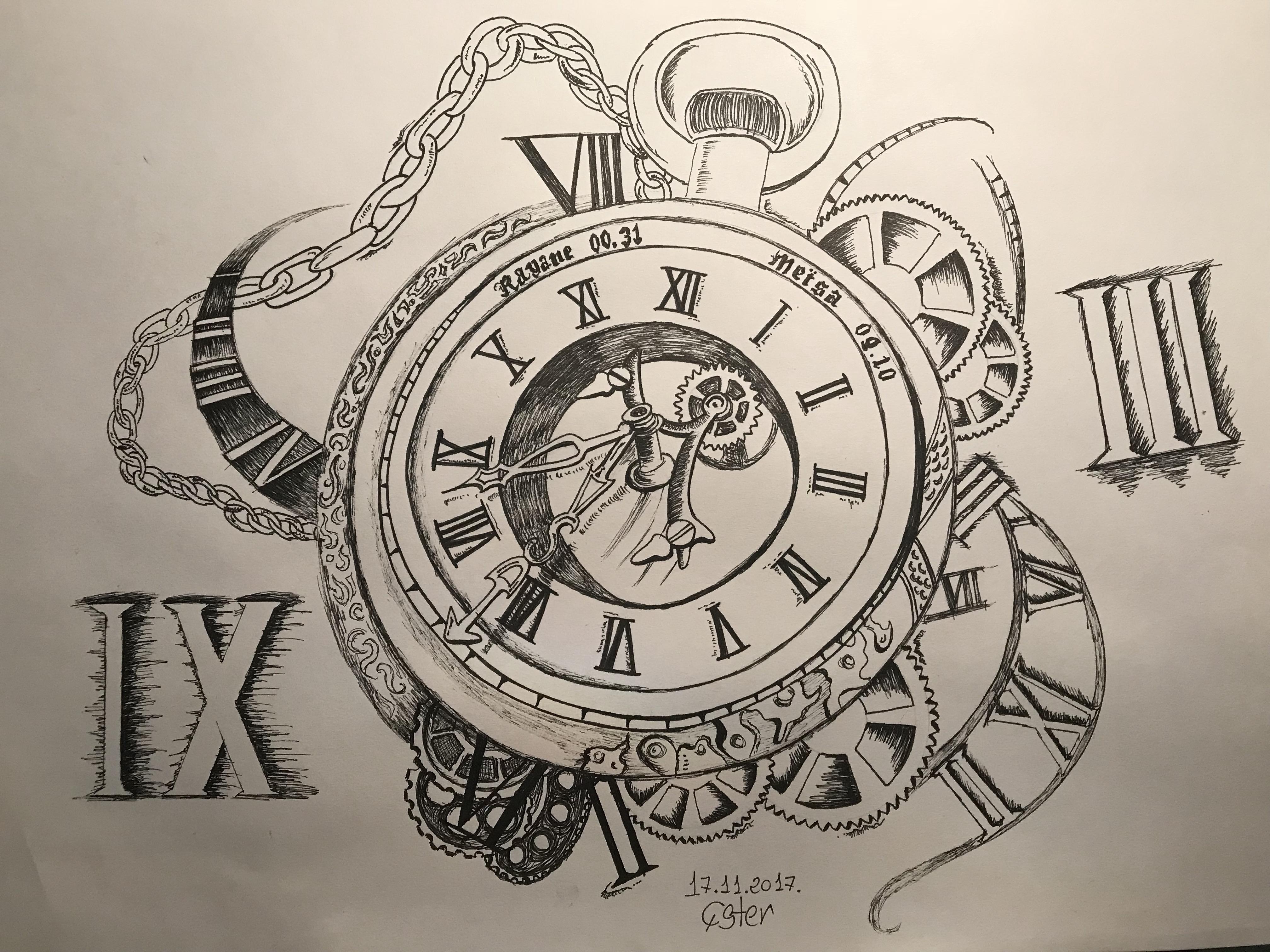 Dibujo Reloj Blanco & Negro
